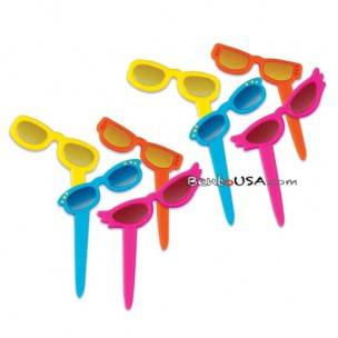 Food Decorating Pick Metallic Sticker Sunglass 8 pcs