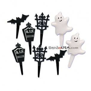 Food Decorating Pick Gate Bat Tomb and Puffy Ghost Pick 8 pcs