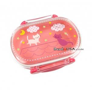 Microwavable Bento Snack Container Pink Cat