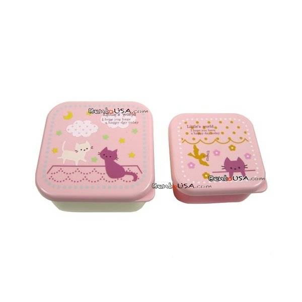 microwavable japanese bento box lunch box set of 2 mini pink cat all things for sale. Black Bedroom Furniture Sets. Home Design Ideas