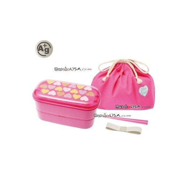 authentic japanese ag bento box lunch box designer set pink heart all thin. Black Bedroom Furniture Sets. Home Design Ideas