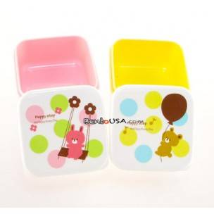 Microwavable Japanese Bento Box Lunch Box set of 2 Happy