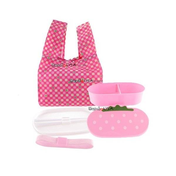 japanese bento lunch box set pink strawberry with chopsticks all things for sale. Black Bedroom Furniture Sets. Home Design Ideas