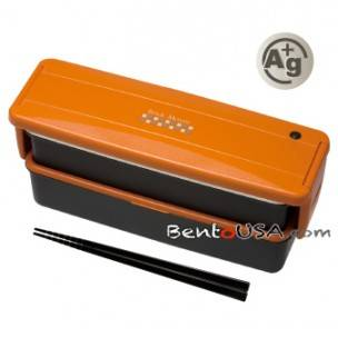 japanese ag bento lunch box set 2 compartment orange. Black Bedroom Furniture Sets. Home Design Ideas