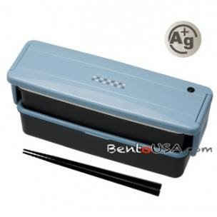 Japanese Ag+ Bento Lunch Box Set 2 Compartment Blue