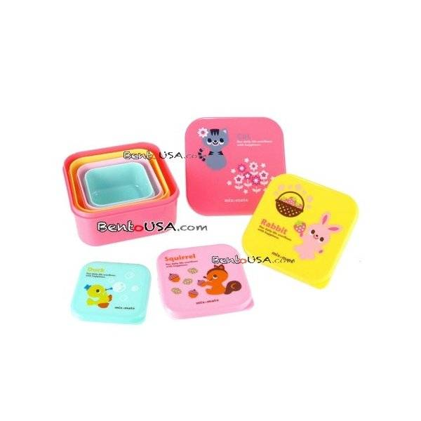 microwavable japanese bento box lunch box 4 nesting container all things fo. Black Bedroom Furniture Sets. Home Design Ideas