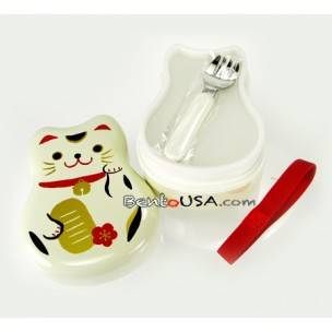 Japanese Bento Box 2 tier Lacquer Lunch Box with Strap Lucky Cat