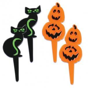 Food Decorating Pick Black Cat and Pumpkin 8 pcs