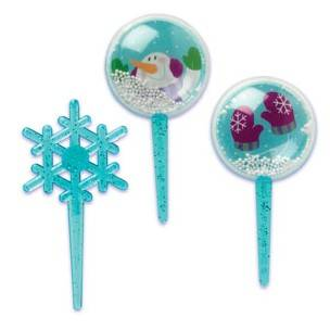 Food Decorating Pick Snow Globe Snowflake 5 pcs
