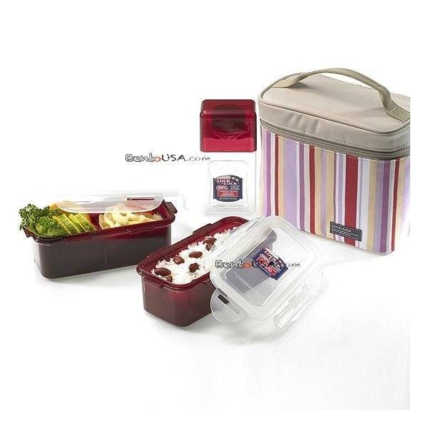 microwavable airtight bento lunch box set lovely red with bottle medium. Black Bedroom Furniture Sets. Home Design Ideas