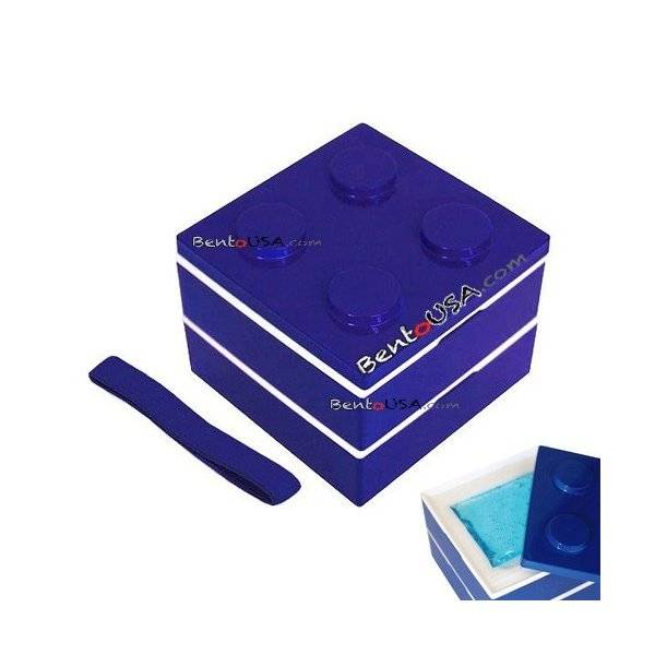 lacquer block bento lunch box 2 tier with cold gel pack blue all things for sale. Black Bedroom Furniture Sets. Home Design Ideas