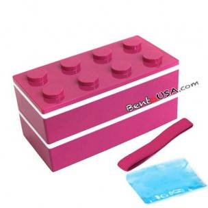 Lacquer Block Bento Lunch Box 2 tier with Chopsticks and Cold Gel Pink