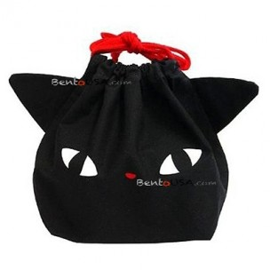 Japanese Bento Lunch Drawstring Bag with Ears - Black Cat