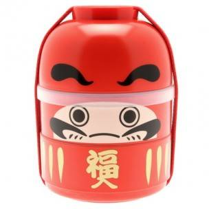 Japanese Bento Box 2 tier Lunch Box Kokeshi Set Daruma