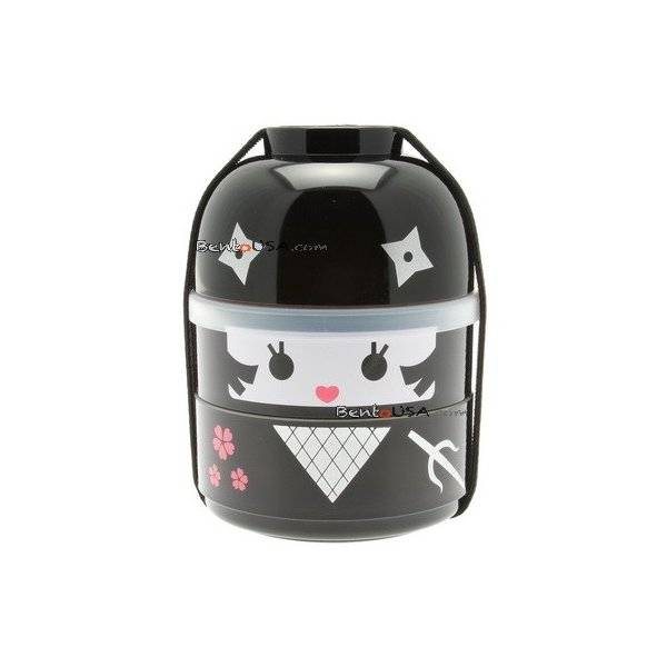 japanese bento box 2 tier lunch box kokeshi set ninja girl. Black Bedroom Furniture Sets. Home Design Ideas