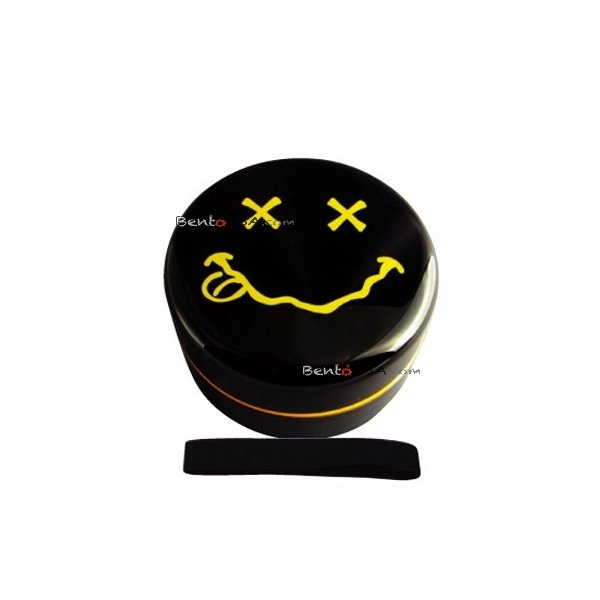 MICROWAVABLE KIDS BENTO BOX SMILEY LUNCH BOX WITH STRAP BLACK