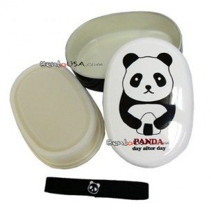 Japanese Bento Box 2 tier Oval Lacquer Lunch Box with Strap Panda
