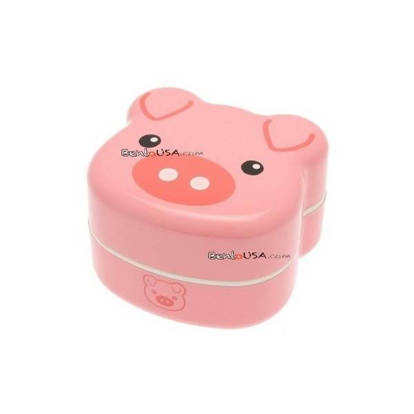japanese bento box 2 tier lunch box with strap pig face all things for sale. Black Bedroom Furniture Sets. Home Design Ideas