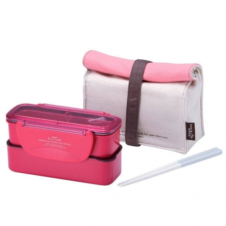 microwavable 2 tier bento lunch box set with lunch bag chopsticks mini slim pink. Black Bedroom Furniture Sets. Home Design Ideas