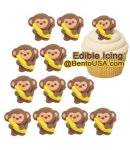 Edible Bento Decoration Make Cute Royal Icing Monkey with Banana 12 pcs