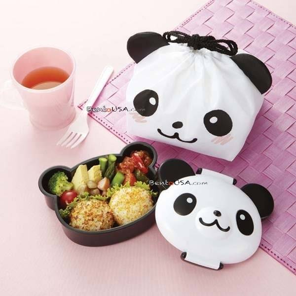 japanese bento lunch box with bag die cut panda face all things for sale. Black Bedroom Furniture Sets. Home Design Ideas