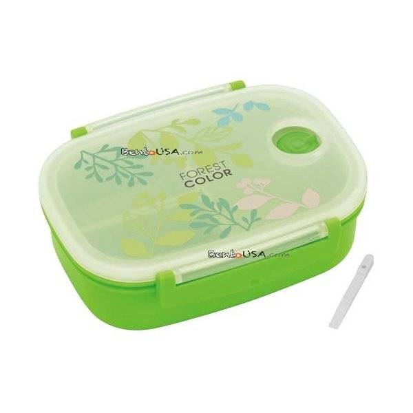 3 sections vacuum airtight bento lunch box 600ml green forest all things fo. Black Bedroom Furniture Sets. Home Design Ideas