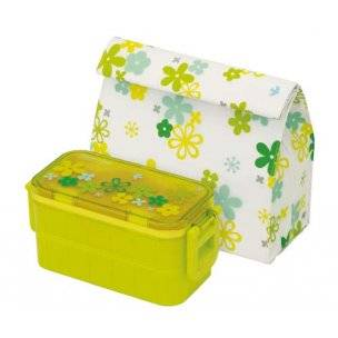 Insulated Bag Ice Pack Japanese 2-Tier Bento Lunch Box Flower Set Green