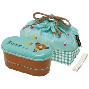 Japanese 2-tier Bento Lunch Box Set with Strap Blue Bear