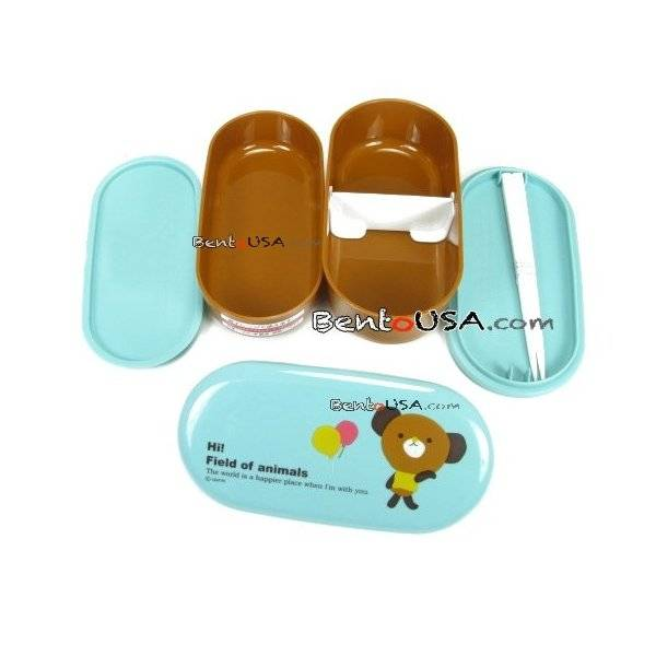 japanese 2 tier bento lunch box set with strap blue bear. Black Bedroom Furniture Sets. Home Design Ideas