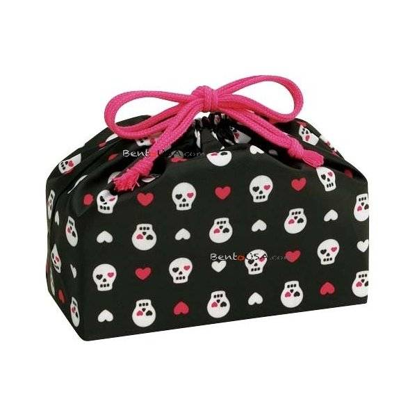 bento lunch box cloth bag love skull all things for sale. Black Bedroom Furniture Sets. Home Design Ideas