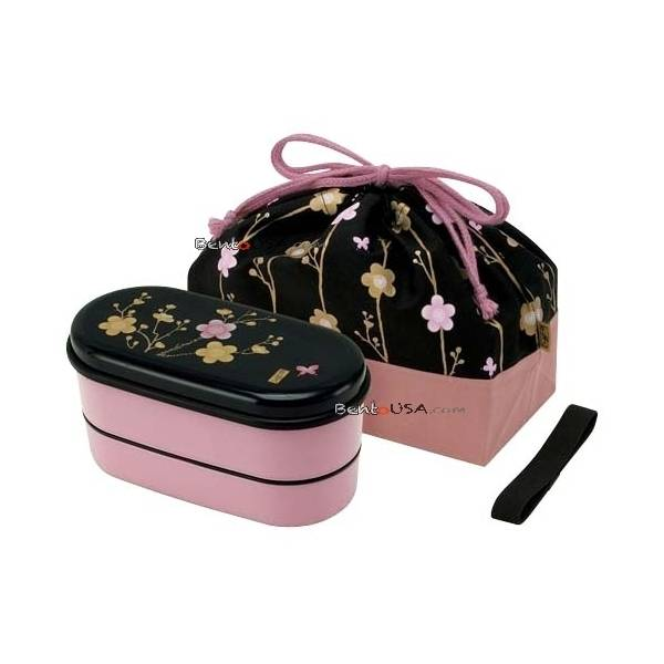 japanese bento lunch box designer set slim pink flower. Black Bedroom Furniture Sets. Home Design Ideas