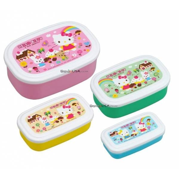 microwavable nested food container 4 bento boxes hello kitty all things for sale. Black Bedroom Furniture Sets. Home Design Ideas