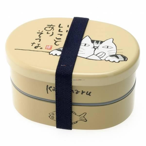 japanese bento box lunch box 2 tiered sakon cat oval. Black Bedroom Furniture Sets. Home Design Ideas