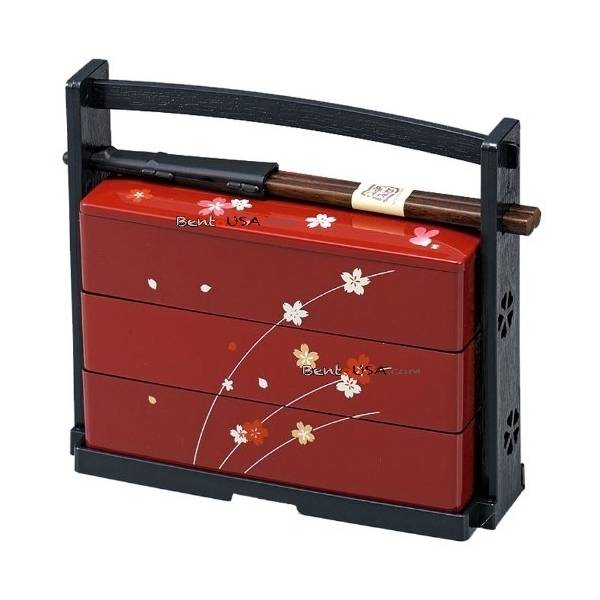 japanese bento box lunch 3 tier sakura. Black Bedroom Furniture Sets. Home Design Ideas