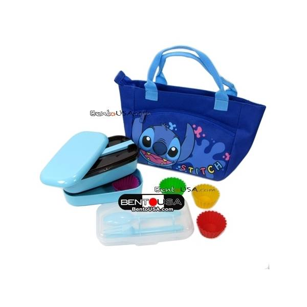microwavable japanese bento box lunch box set cutlery and bag stitch. Black Bedroom Furniture Sets. Home Design Ideas