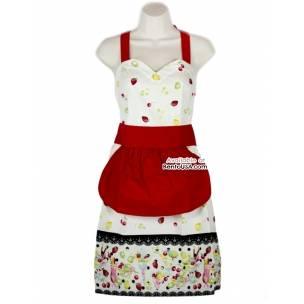 Cute kitchen apron lightweight cotton strawberry cream for Cute stuff for sale