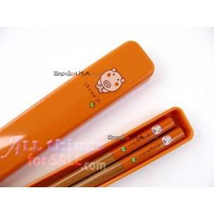 Japanese Bento Chopsticks with Case Orange