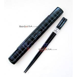 Japanese Bento Chopsticks with Case Black