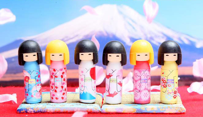 whole collection of iwako kokeshi doll erasers