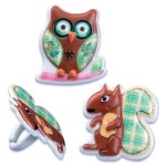 BentoUSA New Arrival Bento Cupcake Decoration Pick and Ring Owl Squirrel