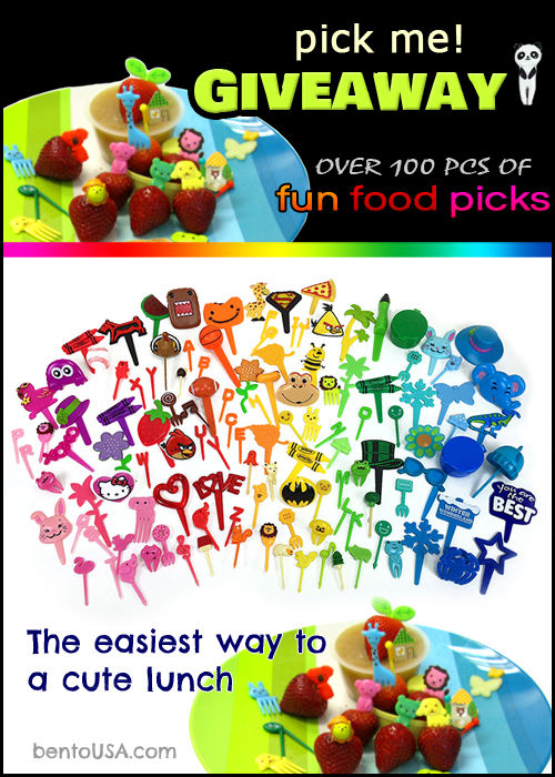 The easiest way to have a fun &amp; cute lunch GIVEAWAY - over 100 pcs of bento food picks, cupcake rings and sauce (mayo) dipping cups