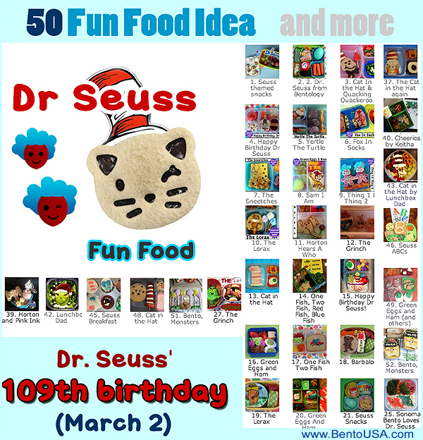 50 Fun Idea for Dr Seuss Themed fun food #bento #lunch