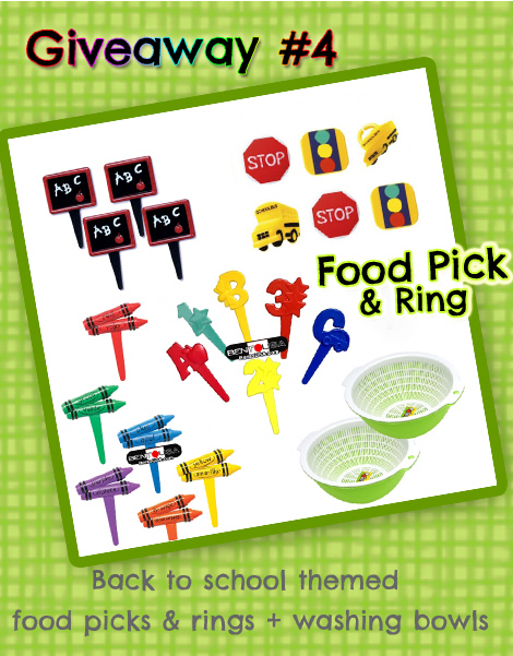Giveaway - Bento Food Pick and Cupcake Ring - Back to School Theme