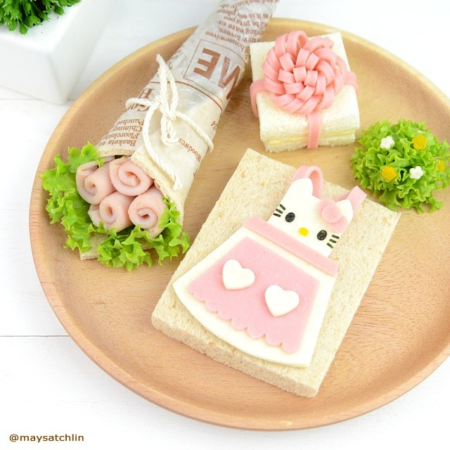 "Hello Kitty Sandwich and a bouquet of ""Ham"" flowers"