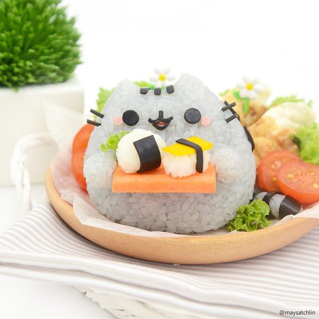 Pusheen the Cat rice ball holding mini sushi