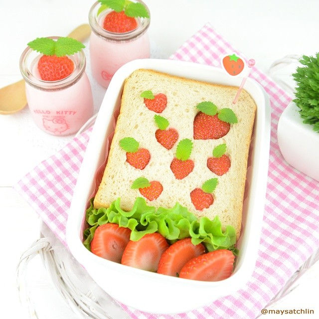 Strawberry Sandwich Tea Break with Jelly Pudding