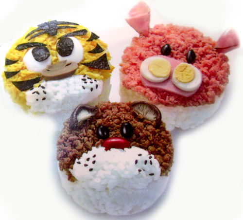 Creative Lunch in Bento Box, Animal Face Bento decoration