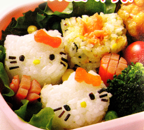 Creative Lunch in Bento Box, Japanese Hello KittyFace Bento decoration