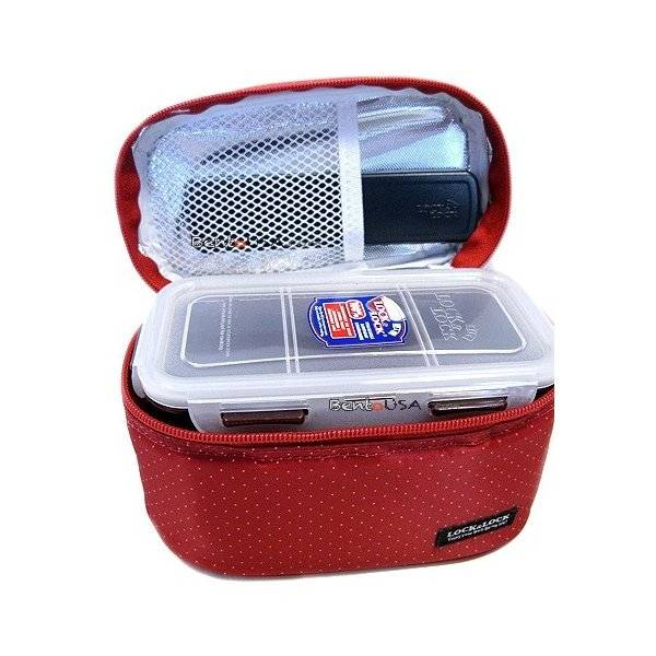 Microwavable bento box lunch box set red