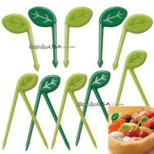 Japanese Bento Food Pick Leaf 10 pcs for Bento Box - Small